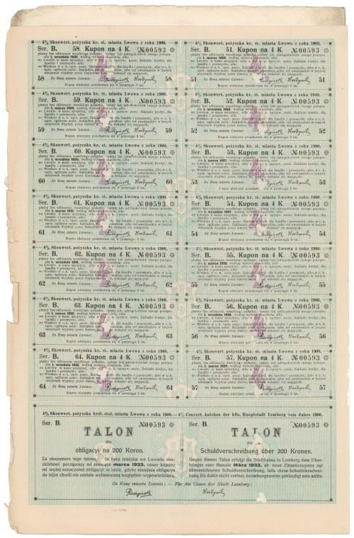 Lwów, Poż. król. stoł. miasta, Obligacja 200 kr 1900