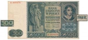 50 zł 1941 PRZERÓBKA na 500 zł 1961