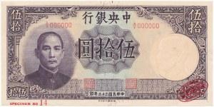 Chiny SPECIMEN 50 Yuan 1944 - A/Y 000000