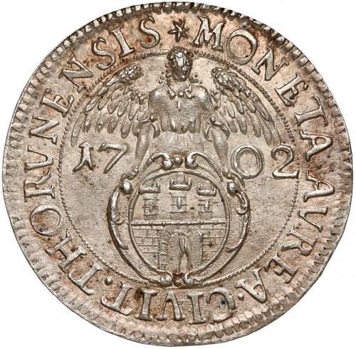 August II Mocny, Dukat w SREBRZE Toruń 1702 - ex. Karolkiewicz - RZADKOŚĆ
