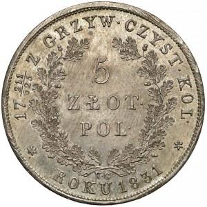 Powstanie Listopadowe, 5 złotych 1831 KG - PIĘKNE