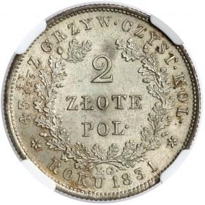 Powstanie Listopadowe, 2 złote 1831 KG - piękne
