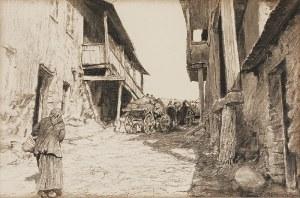 Michał GORSTKIN WYWIÓRSKI (1861-1926), W podolskim miasteczku, ok. 1904