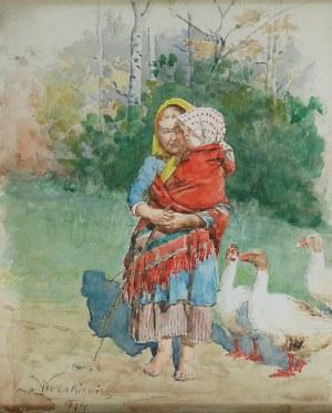 Antoni KOZAKIEWICZ (1841-1929), Gęsiarka z dzieckiem, 1914