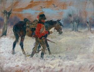 Jerzy KOSSAK (1886-1955), Strzelec konny prowadzi wierzchowca, 1940