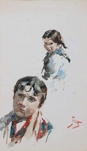 Julian FAŁAT (1853-1929), Studia głów młodzieńca i dziewczynki - Typy krakowskie