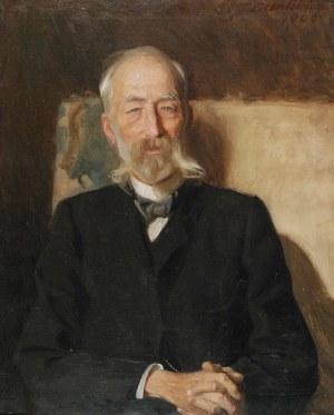 Teodor AXENTOWICZ (1859-1938), Portret sędziwego mężczyzny w fotelu, 1906