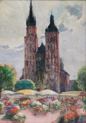 Jan RUBCZAK (1884-1942), Targ na kwiaty - Krakowski rynek