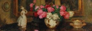 Alfons KARPIŃSKI (1875-1961), Martwa natura z różami i porcelanową figurką, 1939