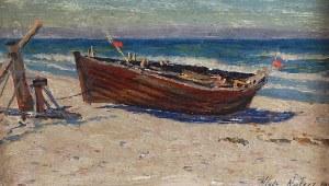 Włodzimierz NAŁĘCZ (1865-1946), Łódź rybacka na brzegu, 1929