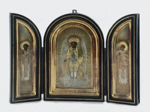 Ikona - tryptyk z Archaniołem Michałem, Bazylim Wielkim i Mikołajem Cudotwórcą