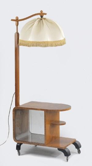 Lampa stojąca z przeszkloną szafką w stylu art déco