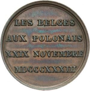 Polska, medal wybity przez Belgów w trzecią rocznicę wybuchu Powstania Listopadowego, 1833.