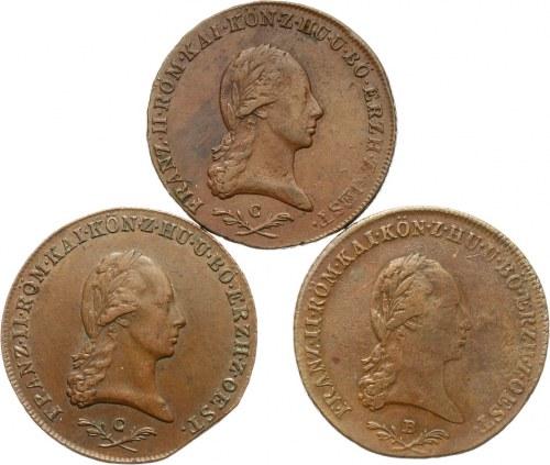 Austria, Franciszek II 1792-1835, zestaw monet 6-cio krajcarowych 1800 r.