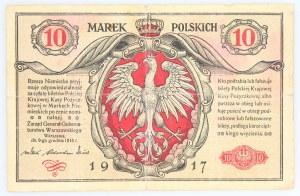 Generalne Gubernatorstwo Warszawskie, 10 marek polskich 9.12.1916, Generał, seria A, Berlin.