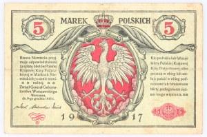 Generalne Gubernatorstwo Warszawskie, 5 marek polskich 9.12.1916, Generał, seria B, Berlin.