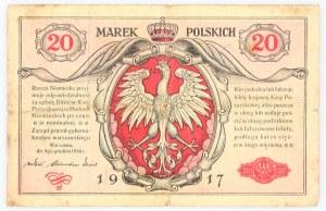 Generalne Gubernatorstwo Warszawskie, 20 marek polskich 9.12.1916, jenerał, seria A, Berlin.