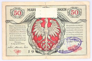 Generalne Gubernatorstwo Warszawskie, 50 marek polskich 9.12.1916, jenerał, seria A, Berlin. Niemiecka Pieczęć.