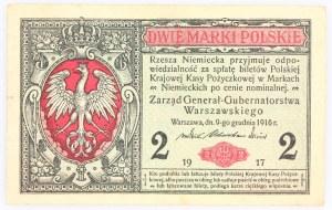 Generalne Gubernatorstwo Warszawskie, 2 marki polskie 9.12.1916, Generał, seria B, Berlin.