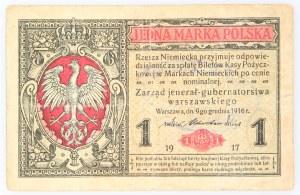 Generalne Gubernatorstwo Warszawskie, 1 marka polska 9.12.1916, jenerał, seria A, Berlin. Niemiecka pieczęć.