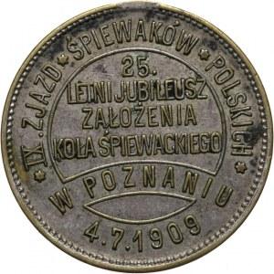 Polska, Medalik pamiątkowy z 1909 wybity z okazji IX Zjazdu Śpiewaków Polskich w Poznaniu 1909