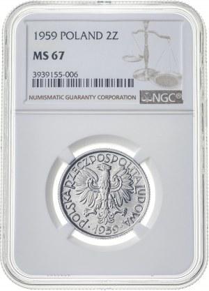 2 zł 1959, PRL, MS67, 2 nota NGC (tylko 2 monety wyżej)