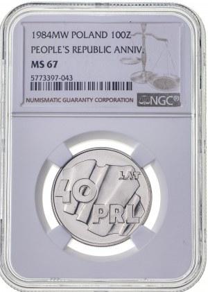 100 zł 1984, PRL, MS67, MAX, najwyższa nota NGC