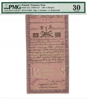 5 zł 1794, INSUREKCJA KOŚCIUSZKOWSKA, podpisy: Fechner/Reykowski