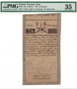 25 zł 1794, INSUREKCJA KOŚCIUSZKOWSKA, podpisy: Grozmani/Zakrzewski