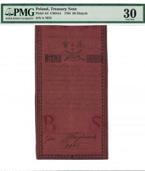 50 zł 1794, INSUREKCJA KOŚCIUSZKOWSKA, podpisy: Klek/Gaczkowski