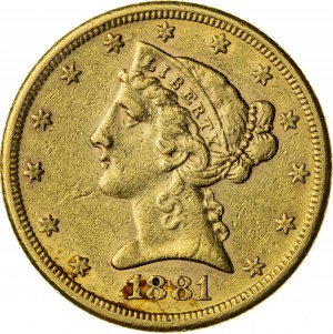 5 dolarów, 1881, S (San Francisco)