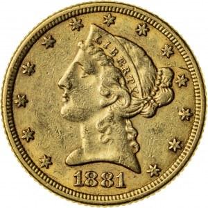 5 dolarów, 1881, (Filadelfia)