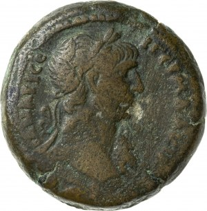 drachma (AE35) wybita w Aleksandrii, rok 19 = 115/116, Trajan (98-117), Cesarstwo Rzymskie – Egipt, RR, TRON Z OPARCIEM