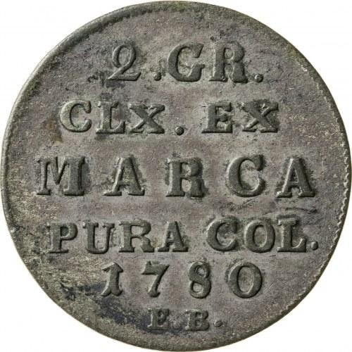 2 grosze srebrne, 1780, Stanisław August Poniatowski, EB