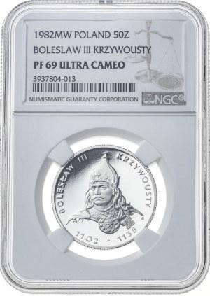 50 zł, BOLESŁAW KRZYWOUSTY, 1982, miedzionikiel, lustrzanka, MAX NOTA
