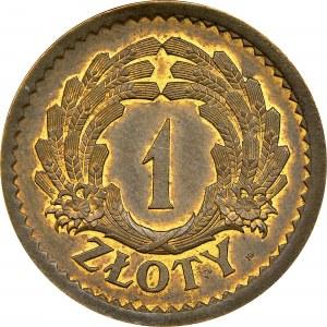 1 zł 1928, PRÓBA, TOMBAK, RRR, MAX ŚWIAT, JEDYNY, MS 64