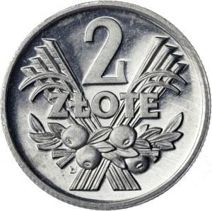 2 zł, 1973, jagody, aluminium, CAMEO - PRZEPIĘKNE, RRR, PRÓBA TECHNOLOGICZNA
