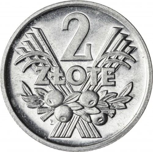 2 zł, 1973, jagody, Aluminium, PRL, CAMEO - PRZEPIĘKNE, RRR, PRÓBA TECHNOLOGICZNA