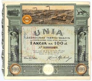 UNIA Zjednoczone Fabryki Maszyn dawniej A.Venizki i Peters S.A. Grudziądz, 100 złotych 1927