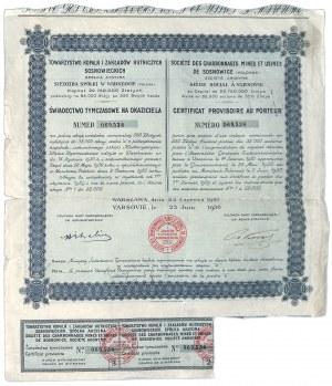 Świadectwo Tymczasowe, Towarzystwo Kopalń i Zakładów Hutniczych SOSNOWICKICH S.A. w Warszawie 1930