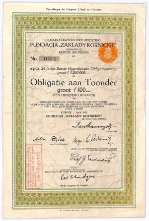Obligacja, Fundacja Zakłady Kornickie, 100 guldenów 1929