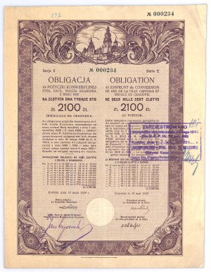 Kraków, Obligacja 4% Pożyczka Konwersyjna, Ser.E, 2100 złotych 1925 - RZADKOŚĆ