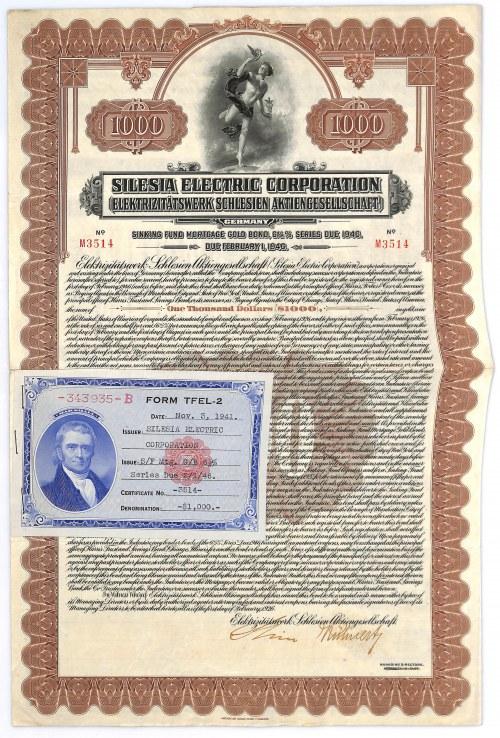 Silesia Electric Corporation (Elektrizitätswerk Schlesien AG), 1.000 dollars 1926