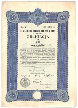 Lwów, Obligacja 4% Pożyczka Konwersyjna, 75 złotych 1930