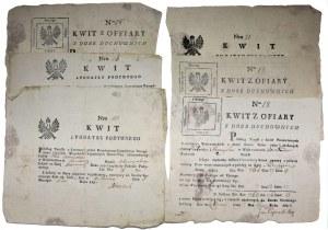 Kwity opłaty z podymnego 1791-4 rok (6szt.)