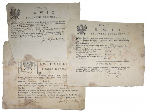 Kwity opłaty z podymnego 1791-4 rok (3szt.)