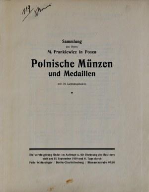 Frankiewicz, Katalog aukcyjny zbioru polskich monet i medali, Berlin 1930.