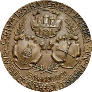 Medal autorstwa W. Trojanowskiego wybity w 1900 roku z okazji jubileuszu Uniwersytetu Jagiellońskiego.