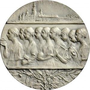 Medal pamiątkowy autorstwa Konstantego Laszczki z 1908 r., wybity z okazji 25. Rocznicy powstania Muzeum Narodowego w Krakowie.