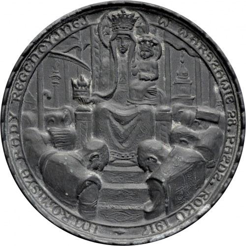 Medal autorstwa Jana Raszki z 1917 roku poświecony Intromisji Rady Regencyjnej w Warszawie.